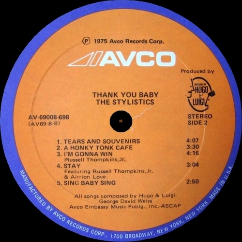 "The Stylistics : Album "" Thank You Baby "" Avco Records AV-69008-698 [ US ]"