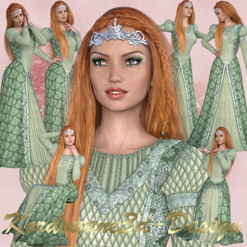 Aurore : femme médiévale (tube-poser-render)