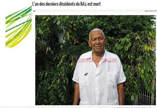 * Rémy OLINY, l'un des derniers Dissidents Antillais du Bataillon des Antilles de la 1ère D.F.L. nous a quittés