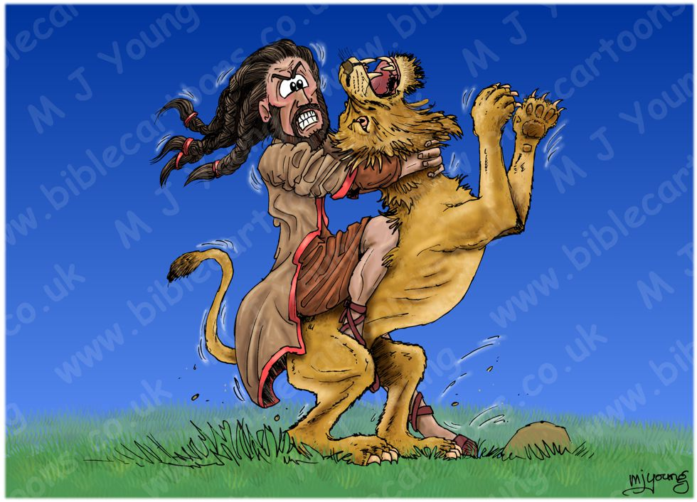 Judges 14 - Samson's marriage - Scene 06 - Lion attack 980x706px col.jpg