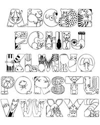 ALphabet animaux Crazy Zoo Alphabet Coloring Pages. great idea for a laminated placemat!