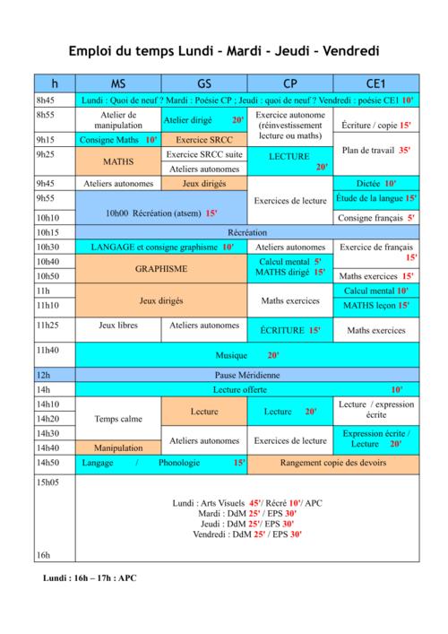Emploi du temps MS-GS-CP-CE1 sur 4 jours et demi
