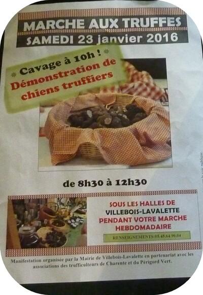 Marché aux truffes de Villebois (janvier).