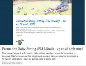 Les inscriptions pour la formation baby-sitting sont ouvertes !