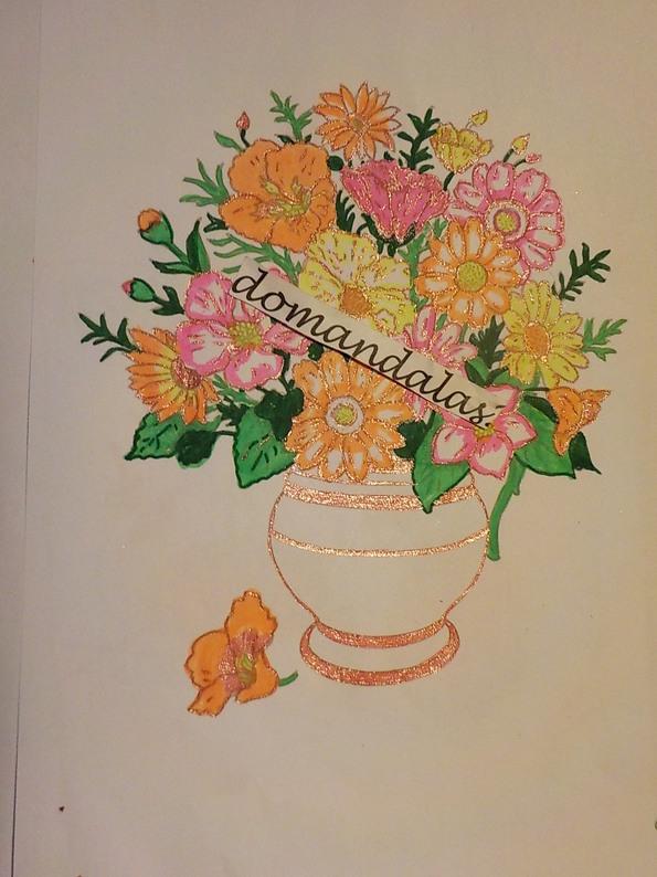 DOMANDALAS  dessin bouquet de fleurs