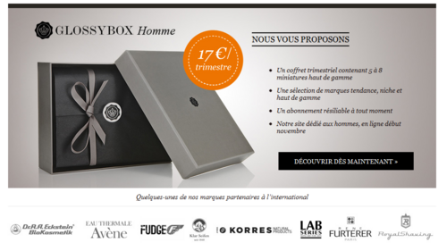 Glossy box homme - 50% remise