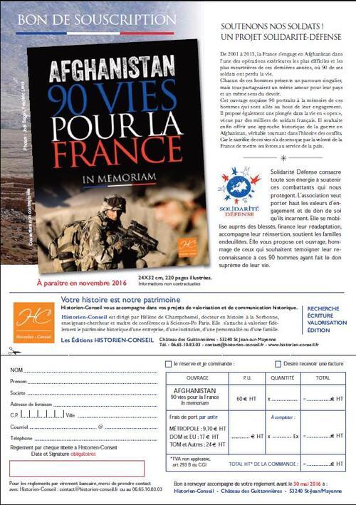 * Avec Solidarité Défense : Afghanistan,  90 vies pour la France