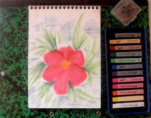 • Dessin fleur au pastel