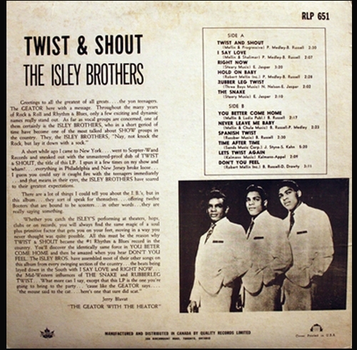 "The Isley Brothers : Album "" Twist & Shout "" Wand Records WDS 653 [ US ]"