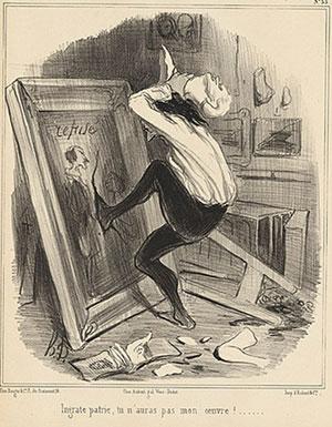 Honoré Daumier,  Ingrate patrie, tu n'auras pas mon œuvre !, lithographie, 1840, Los Angeles County Museum of Art.