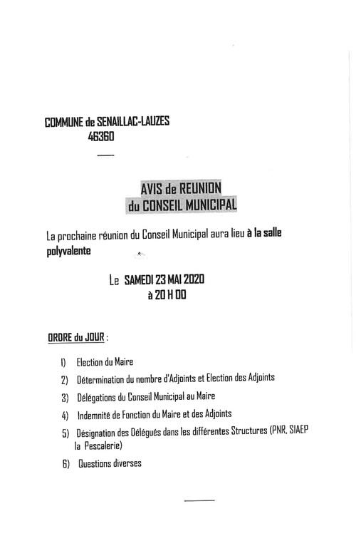 Prochain conseil municipal samedi 23 mai 20h