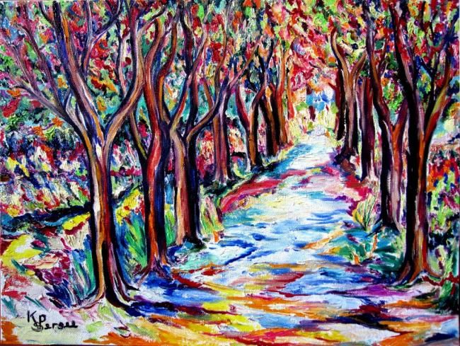 la route fleurie Painting by Kspersee | Artmajeur