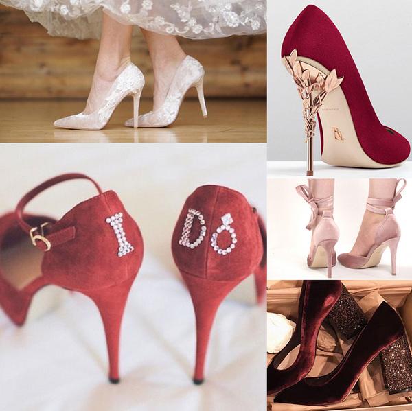 différentes couleurs de chaussures de mariée