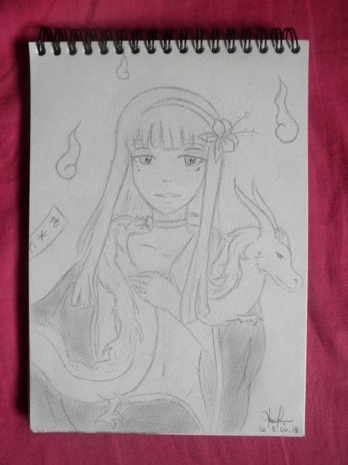 • Dessin fille nue + dragon