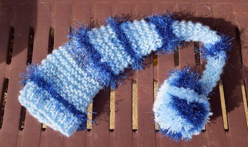 Ensemble bonnet et poncho Elégant aux deux bleus
