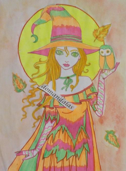DOMANDALAS  coloriage d'une sorcière et de son hibou 7 Mollly Harrison