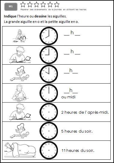 M1 Lire Les Heures Et Les Demi Heures L Ecole De Julie