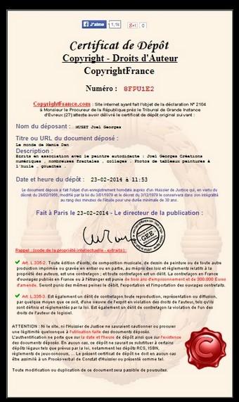 Certificat Copyright France  Joel Georges Peintre autodidacte .