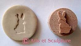 mini tampon à imprimer lapin: bscuits, papier, tissus, beurre, argile, savon,... - Arts et Sculpture: sculptrice sur bois