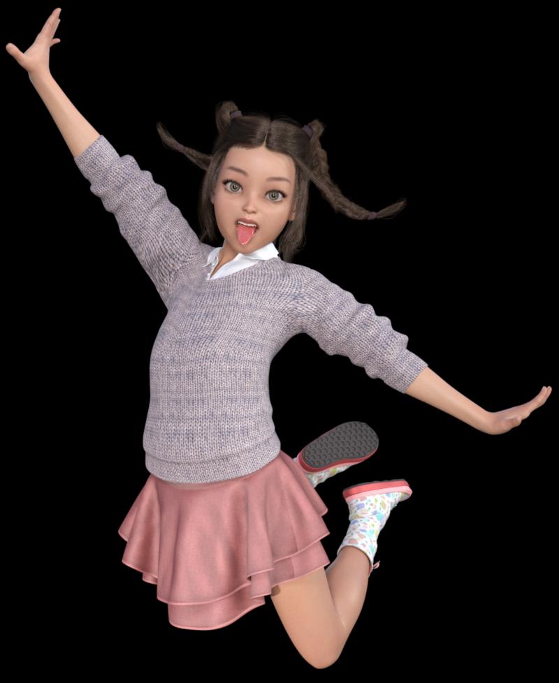 Tube fillette joyeuse (render-image)