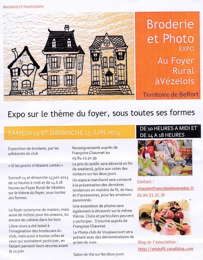 Broderie et photo expo au foyer rural de Vézelois près Belfort