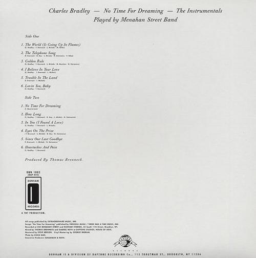 "Charles Bradley : CD "" No Time For Dreaming "" Dunham Records DUN 1001 [US]"