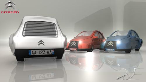 La nouvelle 2CV - modèles 3D - dos