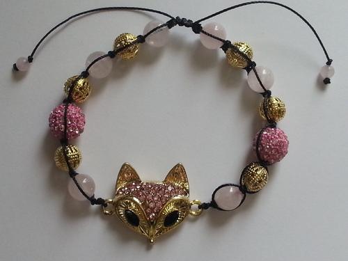 quartz rose strass et doré