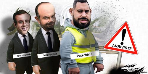 dessin de JERC et texte d'AKAKU du mardi 08 janvier 2019 caricature Emmanuel Macron, Edouard Phillipe, Eric Drouet Arriviste eriques www.facebook.com/jercdessin