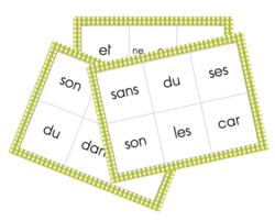 Loto des mots outils  (suite)