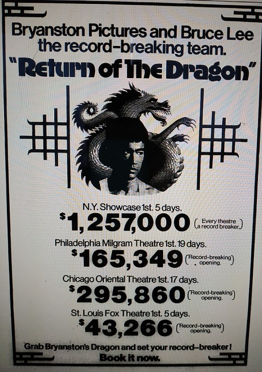 RETURN OF THE DRAGON BOX OFFICE USA 1974