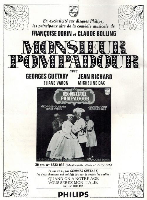 """Jean Richard dans l'opérette """"Monsieur Pompadour"""" en 1971"""