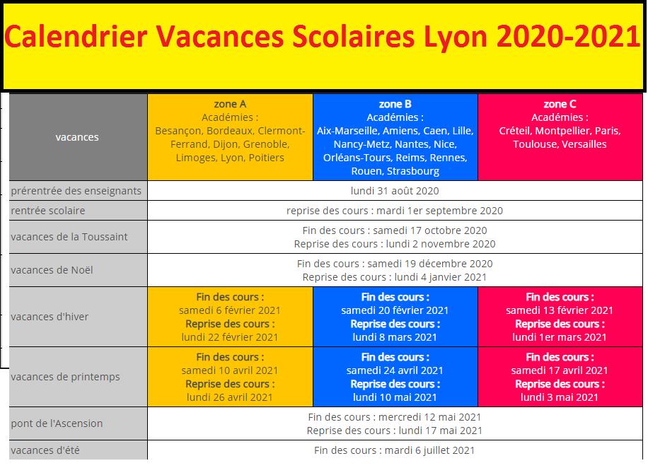 Calendrier Lyon 2021 Calendrier scolaire 2020 2021   Les as en langues académie de Lyon