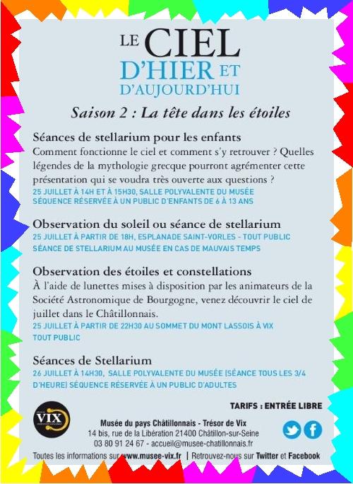 Le ciel d'hier et d'aujourd'hui, de belles animations au Musée du pays Châtillonnais-Trésor de Vix