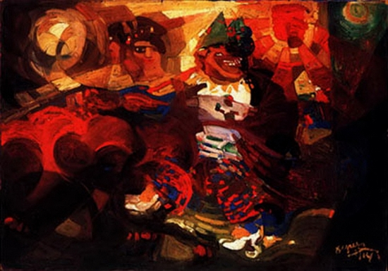 Fortunato Depero, Rythme d'une ballerine et clowns, 1914