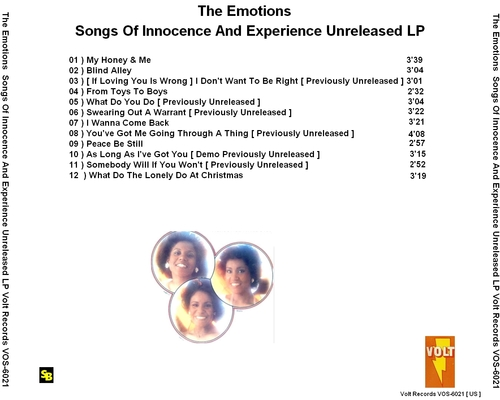 "The Emotions : Album "" Songs Of Innocence And Experience "" Unreleased Volt Records VOS-6021 [ US ]"