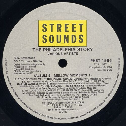 "1986 ; Various Artists : "" The Philadelphia Story : 15 Years Of Philly Classics "" Philadelphia International Records PHST 1986-01...14 [ US ]"
