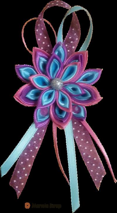 Tube art florale  broderie avec rubans