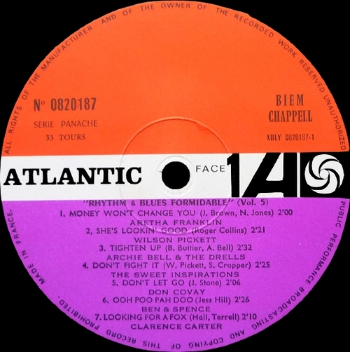 "Série "" Formidable Rhythm & Blues Vol 5 "" Atlantic Records 0820187 [ FR ] en 1968"