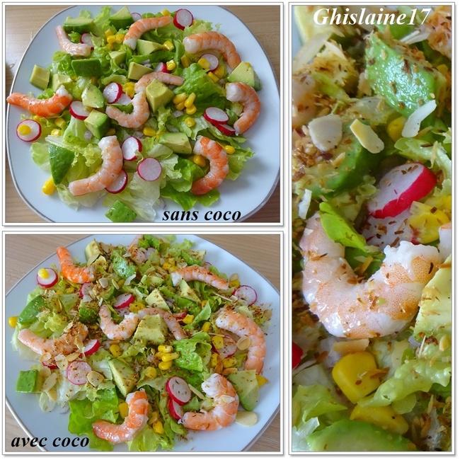 Salade d'avocat et de crevettes à la noix de coco grillée (îles Caïman)