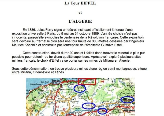 """128e anniversaire de la tour Eiffel """"Si la mine algérienne m'était «comptée» !"""""""
