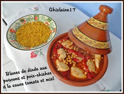Blancs de dinde aux poivrons et pois-chiches à la sauce tomate et miel