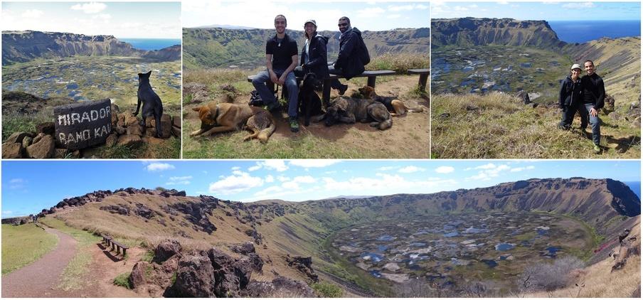 le village d'Orongo sur le volcan rano kau et ses gardiens canins