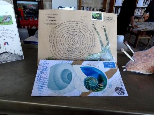 Un atelier d'Art Postal à la Médiathèque de Laignes...