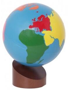 Globe Montessori Couleur Continent|Matériel géographie|école maternelle
