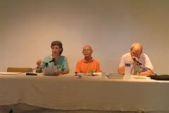 Soeur Maryline Darbellay, Marc Puissant et Dennis Gira Colloque chrétiens-bouddhistes au CTM avec Drukpa Grenoble 2015