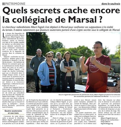 """Le Républicain-Lorrain, éditions Sarrebourg, du 30 septembre 2015, """" Quels secrets caches encore la Collégiale de Marsal ? """" . (Vincent Debraine) (Photos : Raphaële Gigot)"""