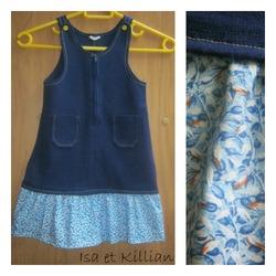 Une robe chasuble trop petite + une bande de tissu assortie = une nouvelle robe !^^