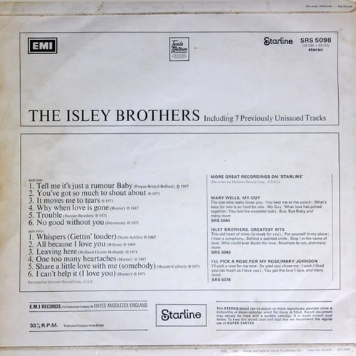 """The Isley Brothers : Album """" The Isley Brothers """" Starline Records SRS 5098 [ UK ]"""