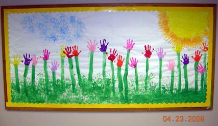 printemps empreintes de mains maternelle